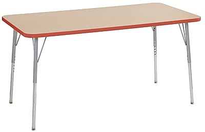 "ECR4Kids 30"" x 60"" Rectangular Contour Activity Table Maple/Tangerine/Silver Standard Leg (14711-MPTGSVSS)"
