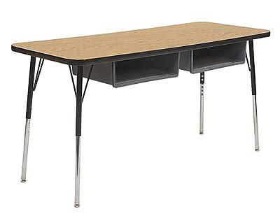 "ECR4Kids 18""W x 60""L Rectangular Thermo-Fused Table, 2 Book Boxes, Oak/Black/Standard Swivel (14927OKBKBKSSGY)"