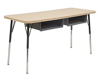 """ECR4Kids 18""""W x 60""""L Rectangular Thermo-Fused Table, 2 Book Boxes, Maple/Maple/Standard Swivel (14927MPMPBKSSGY)"""