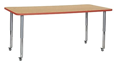 "ECR4Kids 36""W x 72""L Rectangular Contour Activity Table Oak/Tangerine/Silver Super Legs (14713-OKTGSVSL)"