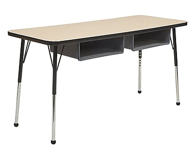 """ECR4Kids 18""""W x 60""""L Rectangular Thermo-Fused Table, 2 Book Boxes, Maple/Black/Standard Ball (14927MPBKBKSBGY)"""