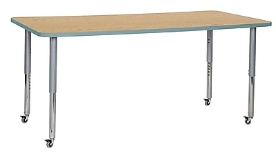 "ECR4Kids 36""W x 72""L Rectangular Contour Activity Table Oak/Seafoam/Silver Super Legs (14713-OKSFSVSL)"