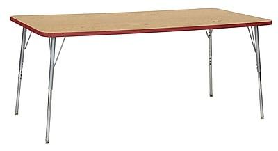 "ECR4Kids 36""W x 72""L Rectangular Contour Activity Table Oak/Red/Silver Standard Legs (14713-OKRDSVSS)"