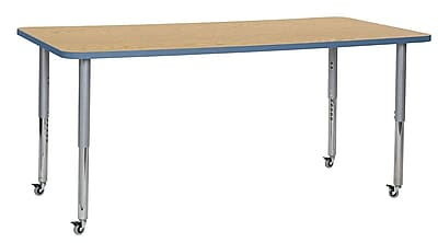 "ECR4Kids 36""W x 72""L Rectangular Contour Activity Table Oak/Powder Blue/Silver Super Legs (14713-OKPBSVSL)"