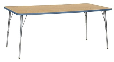 "ECR4Kids 36""W x 72""L Rectangular Contour Activity Table Oak/Powder Blue/Silver Standard Legs (14713-OKPBSVSS)"