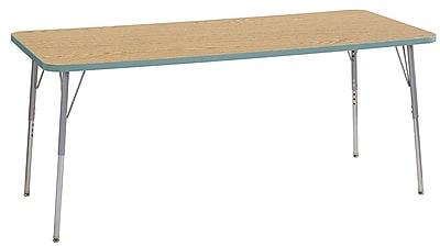 "ECR4Kids 30"" x 72"" Rectangular Contour Activity Table Oak/Seafoam/Silver Standard Leg (14712-OKSFSVSS)"