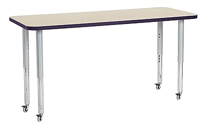 "ECR4Kids 24"" x 60"" Rectangular Contour Activity Table Maple/Eggplant/Silver Super Leg (14708-MPEPSVSL)"