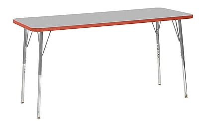 "ECR4Kids 24"" x 60"" Rectangular Contour Activity Table Grey/Tangerine/Silver Standard Leg (14708-GYTGSVSS)"