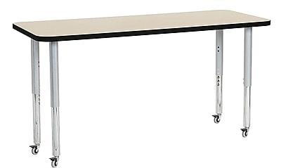 "ECR4Kids 24"" x 60"" Rectangular Contour Activity Table Maple/Black/Silver Super Leg (14708-MPBKSVSL)"