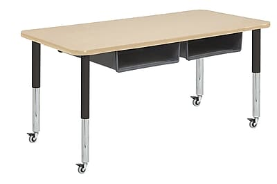 """ECR4Kids 36""""x60"""" Rectangular Thermo-Fused Table, 4 Book Boxes, Maple/Maple/Super Legs (14922MPMPBKSLGY)"""