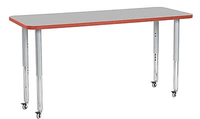 "ECR4Kids 24"" x 60"" Rectangular Contour Activity Table Grey/Tangerine/Silver Super Leg (14708-GYTGSVSL)"