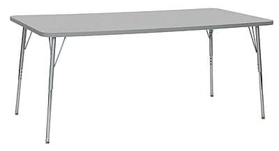 "ECR4Kids 36"" x 72"" Rectangular Contour Activity Table Grey/Light Grey/Silver Standard Leg (14713-GYLGSVSS)"