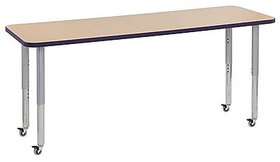 """ECR4Kids 24""""W x 72""""L Rectangular Contour Activity Table Maple/Eggplant/Silver Super Legs (14709-MPEPSVSL)"""