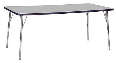 "ECR4Kids 36"" x 72"" Rectangular Contour Activity Table Grey/Eggplant/Silver Standard Leg (14713-GYEPSVSS)"