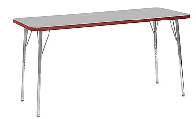 "ECR4Kids 24"" x 60"" Rectangular Contour Activity Table Grey/Red/Silver Standard Leg (14708-GYRDSVSS)"