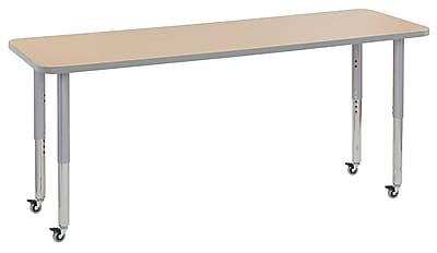 "ECR4Kids 24""W x 72""L Rectangular Contour Activity Table Maple/Light Grey/Silver Super Legs (14709-MPLGSVSL)"