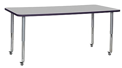 "ECR4Kids 36"" x 72"" Rectangular Contour Activity Table Grey/Eggplant/Silver Super Leg (14713-GYEPSVSL)"