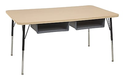 """ECR4Kids 24""""x60"""" Rectangular Thermo-Fused Table, 2 Book Boxes, Maple/Maple/Standard Swivel (14908MPMPBKSSGY)"""