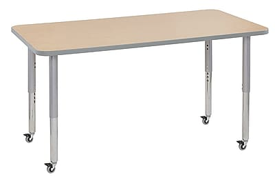 "ECR4Kids 30"" x 60"" Rectangular Contour Activity Table Maple/Light Grey/Silver Super Leg (14711-MPLGSVSL)"