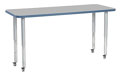 "ECR4Kids 24"" x 60"" Rectangular Contour Activity Table Grey/Powder Blue/Silver Super Leg (14708-GYPBSVSL)"