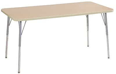 "ECR4Kids 30"" x 60"" Rectangular Contour Activity Table Maple/Maple/Silver Standard Leg (14711-MPMPSVSS)"