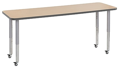 """ECR4Kids 24""""W x 72""""L Rectangular Contour Activity Table Maple/Grey/Silver Super Legs (14709-MPGYSVSL)"""