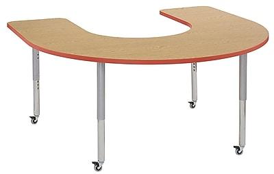 "ECR4Kids 60""x66"" Horseshoe Contour Activity Table Oak/Tangerine/Silver Super Leg (14703-OKTGSVSL)"