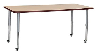 "ECR4Kids 36""W x 72""L Rectangular Contour Activity Table Maple/Burgundy/Silver Super Legs (14713-MPBYSVSL)"