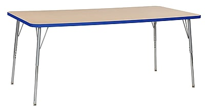 "ECR4Kids 36""W x 72""L Rectangular Contour Activity Table Maple/Blue/Silver Standard Legs (14713-MPBLSVSS)"