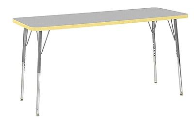 "ECR4Kids 24"" x 60"" Rectangular Contour Activity Table Grey/Squash/Silver Standard Leg (14708-GYSQSVSS)"