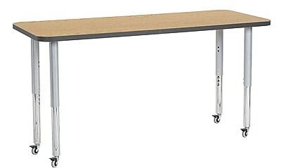 "ECR4Kids 24"" x 60"" Rectangular Contour Activity Table Oak/Grey/Silver Super Leg (14708-OKGYSVSL)"