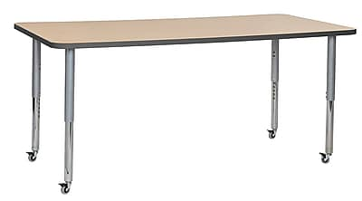 """ECR4Kids 36""""W x 72""""L Rectangular Contour Activity Table Maple/Grey/Silver Super Legs (14713-MPGYSVSL)"""