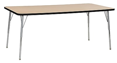"ECR4Kids 36""W x 72""L Rectangular Contour Activity Table Maple/Black/Silver Standard Legs (14713-MPBKSVSS)"