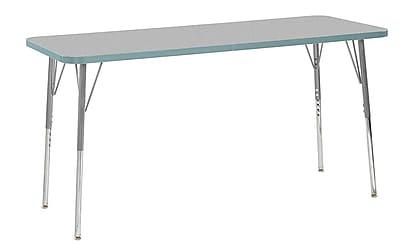 """ECR4Kids 24"""" x 60"""" Rectangular Contour Activity Table Grey/Seafoam/Silver Standard Leg (14708-GYSFSVSS)"""