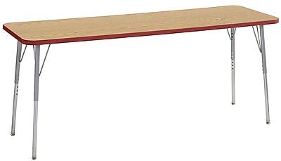 "ECR4Kids 24""W x 72""L Rectangular Contour Activity Table Oak/Red/Silver Standard Legs (14709-OKRDSVSS)"