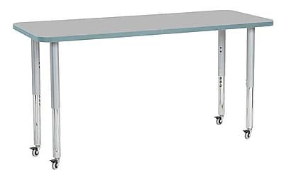 "ECR4Kids 24"" x 60"" Rectangular Contour Activity Table Grey/Seafoam/Silver Super Leg (14708-GYSFSVSL)"