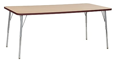 "ECR4Kids 36""W x 72""L Rectangular Contour Activity Table Maple/Burgundy/Silver Standard Legs (14713-MPBYSVSS)"