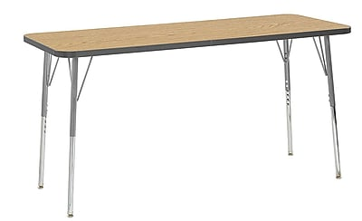 "ECR4Kids 24"" x 60"" Rectangular Contour Activity Table Oak/Grey/Silver Standard Leg (14708-OKGYSVSS)"