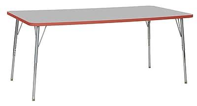 "ECR4Kids 36""W x 72""L Rectangular Contour Activity Table Grey/Tangerine/Silver Standard Legs (14713-GYTGSVSS)"