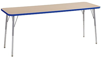 "ECR4Kids 24""W x 72""L Rectangular Contour Activity Table Maple/Blue/Silver Standard Legs (14709-MPBLSVSS)"