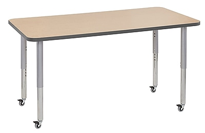 "ECR4Kids 30"" x 60"" Rectangular Contour Activity Table Maple/Grey/Silver Super Leg (14711-MPGYSVSL)"