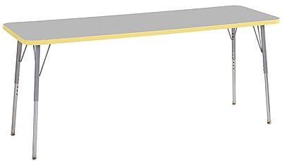 "ECR4Kids 24""W x 72""L Rectangular Contour Activity Table Grey/Squash/Silver Standard Legs (14709-GYSQSVSS)"
