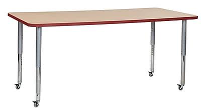 "ECR4Kids 36""W x 72""L Rectangular Contour Activity Table Maple/Red/Silver Super Legs (14713-MPRDSVSL)"