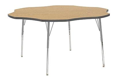 "ECR4Kids 60"" Flower Contour Activity Table Oak/Grey/Silver Standard Legs (14702-OKGYSVSS)"