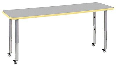 "ECR4Kids 24""W x 72""L Rectangular Contour Activity Table Grey/Squash/Silver Super Legs (14709-GYSQSVSL)"