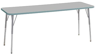 "ECR4Kids 24""W x 72""L Rectangular Contour Activity Table Grey/Seafoam/Silver Standard Legs (14709-GYSFSVSS)"