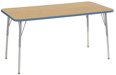 "ECR4Kids 30"" x 60"" Rectangular Contour Activity Table Oak/Powder Blue/Silver Standard Leg (14711-OKPBSVSS)"