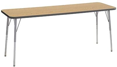 "ECR4Kids 24""W x 72""L Rectangular Contour Activity Table Oak/Grey/Silver Standard Legs (14709-OKGYSVSS)"