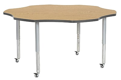 "ECR4Kids 60"" Flower Contour Activity Table Oak/Grey/Silver Super Legs (14702-OKGYSVSL)"