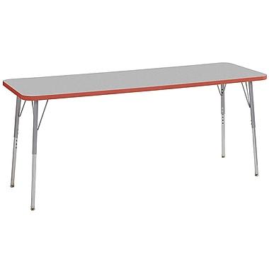 "ECR4Kids 24""W x 72""L Rectangular Contour Activity Table Grey/Tangerine/Silver Standard Legs (14709-GYTGSVSS)"